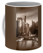 Chicago City View Afternoon B And W Coffee Mug