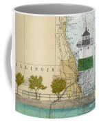 Chicago Harbor Se Guidewall Lighthouse Il Nautical Chart Art Coffee Mug