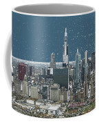 Chicago Looking West In A Snow Storm Digital Art Coffee Mug
