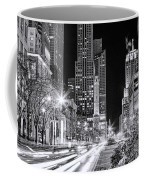 Chicago Michigan Avenue Light Streak Black And White Coffee Mug