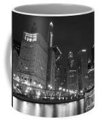 Chicago River At Night Black And White Coffee Mug