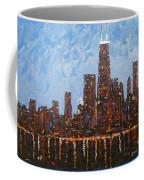 Chicago Skyline At Night From North Avenue Pier Coffee Mug