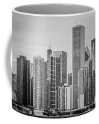 Chicago Skyline In Black And White Coffee Mug