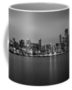 Chicago Skyline In Fog With Reflection - Black And White Coffee Mug