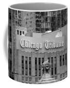 Chicago Tribune Facade Signage Bw Coffee Mug