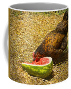 Chicken And Her Watermelon Coffee Mug by Sandi OReilly