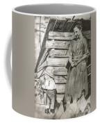Chicken Coop - Woman And Son - Feeding Chickens Coffee Mug