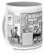 Child Sits Across Desk From Principal Coffee Mug
