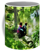 Children And Ducks In Park Coffee Mug