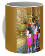 Children Bring Lotus Flowers To Royal Temple At Grand Palace Of Thailand Coffee Mug