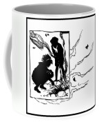 Children Burning Leaves Silhouette Coffee Mug