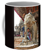 Children Love The Elephants In Patan Durbar Square In Lalitpur-nepal Coffee Mug