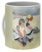 Children Playing On The Beach Coffee Mug
