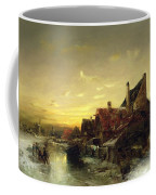 Children Playing On The Ice Coffee Mug by Desire Tomassin
