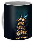 Chinese Pagoda At Night With Full Moon Coffee Mug