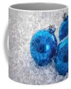 Christmas Card With Vintage Blue Ornaments Coffee Mug