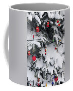 Christmas Decorations On Snowy Tree Coffee Mug