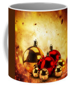 Christmas Glass Balls On Winter Gold Background Coffee Mug