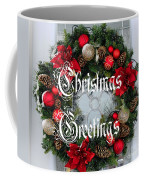 Christmas Greetings Door Wreath Coffee Mug