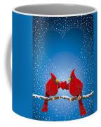 Christmas Red Cardinal Twig Snowing Heart Coffee Mug by Frank Ramspott