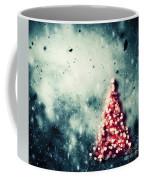 Christmas Tree Glowing On Winter Vintage Background Coffee Mug
