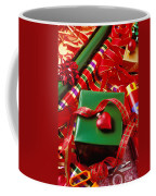 Christmas Wrap With Heart Ornament Coffee Mug