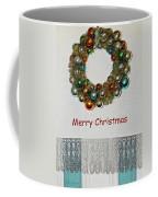 Christmas Wreath And Vintage Bulbs Coffee Mug