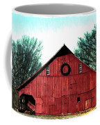 Christmas Wreath On Red Barn Coffee Mug