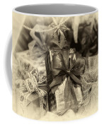 Christmasgift Under The Tree In Sepia Coffee Mug