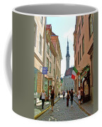 Church At End Of Street In Old Town Tallinn-estonia Coffee Mug