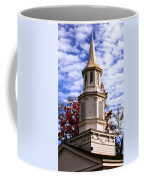 Church Steeple In Autumn Blue Sky Clouds Fine Art Prints As Gift For The Holidays Coffee Mug