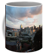 Cincinnati Skyline At Sunset Form The Top Of Mount Adams Coffee Mug