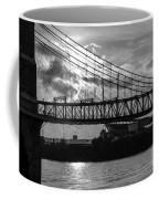 Cincinnati Suspension Bridge Black And White Coffee Mug by Mary Carol Story