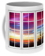 City Lights Sunrise View Through White Window Frame Coffee Mug