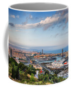 City Of Barcelona From Above At Sunset Coffee Mug
