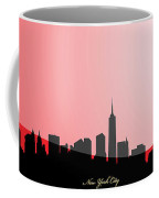 Cityscapes- New York City Skyline In Black On Red Coffee Mug