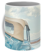 Classic Vintage Morris Minor 1000 Convertible At The Beach Coffee Mug