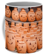 Clay Pumpkins Standing Happy Near The Wood Fence Coffee Mug