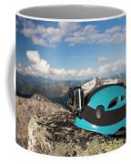 Climbing Helmet With Camera On Mountain Coffee Mug