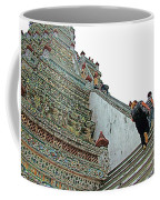 Climbing Many Steps At Temple Of The Dawn-wat Arun In Bangkok-th Coffee Mug