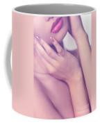 Closeup Of Sensual Woman Mouth And Pink Lips Coffee Mug