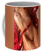 Closeup Of Sexy Nude Woman Body On Red Kimono Coffee Mug