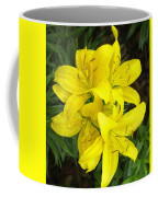 Cluster Of Yellow Lilly Flowers In The Garden Coffee Mug