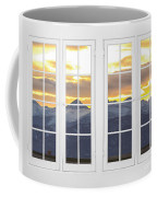 Co Mountain Gold View Out An Old White Double 16 Pane White Window Coffee Mug