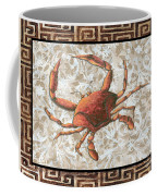Coastal Crab Decorative Painting Greek Border Design By Madart Studios Coffee Mug
