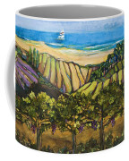 California Coastal Vineyards And Sail Boat Coffee Mug