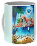 Coastal Tropical Beach Art Contemporary Painting Whimsical Design Tropical Vacation By Madart Coffee Mug