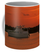 Cabin Cruiser And Red Sunset Over Harbour Coffee Mug