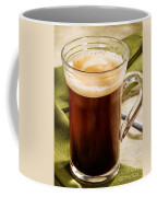 Coffe In Tall Glass On Green Coffee Mug