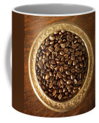 Coffee Beans On Antique Silver Platter Coffee Mug